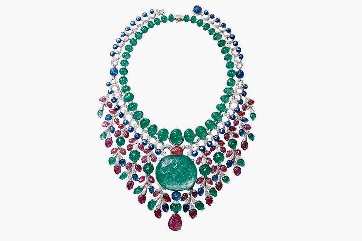 """CARTIER. """"Rajasthan"""" Necklace/Brooch - platinum, one 136,97- carat emerald from Colombia, emeralds, rubies, sapphires, brilliant-cut diamonds. #Cartier #CartierMagicien #HauteJoaillerie #FineJewelry #CarvedStones #TuttiFrutti"""