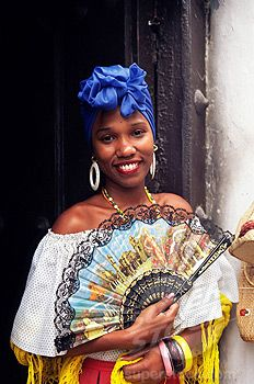 cuban dresses for women | Stock Photo - Young woman in typical Cuban dress holding a fan, Habana ...