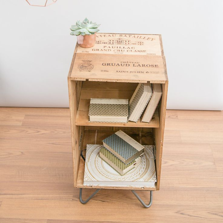Reclaimed wooden wine crate furniture cabinet / coffee table / bed side table with hairpin legs - minimal up cycled mid century meets modern by MadeAnewShop on Etsy https://www.etsy.com/listing/290360483/reclaimed-wooden-wine-crate-furniture
