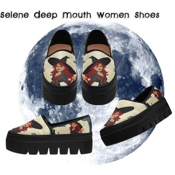 Funny Witch and Black Cat Selene Deep Mouth Women Shoes. Free Shippng.
