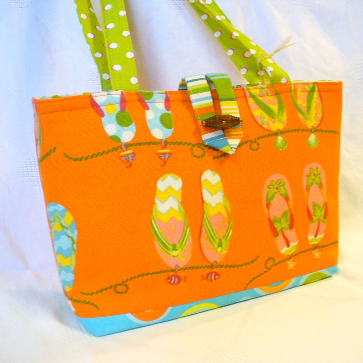 Orange Flip Flops Purse Summer Handbag Lime Pink Handmade Fabric Purse.