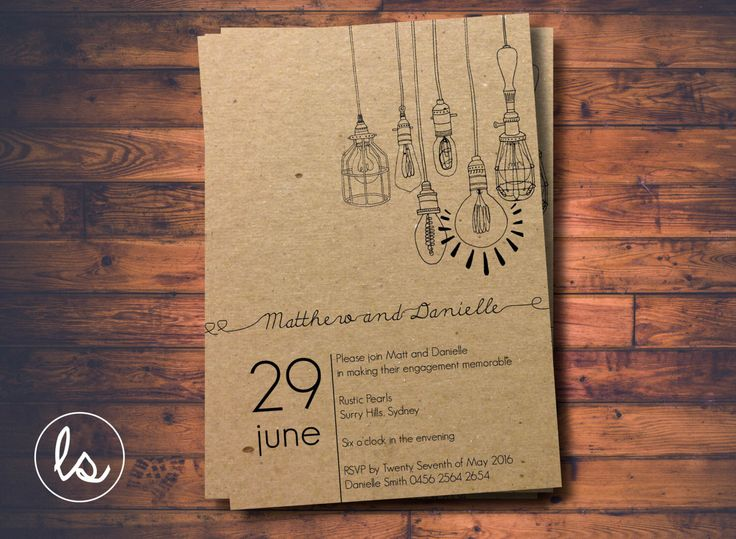 Rustic Light Bulb Kraft Engagement Invitation ~ DIY PRINTABLE ~ Professional Printing with envelopes and postage included by LoveStoryInvitations on Etsy https://www.etsy.com/listing/256924050/rustic-light-bulb-kraft-engagement