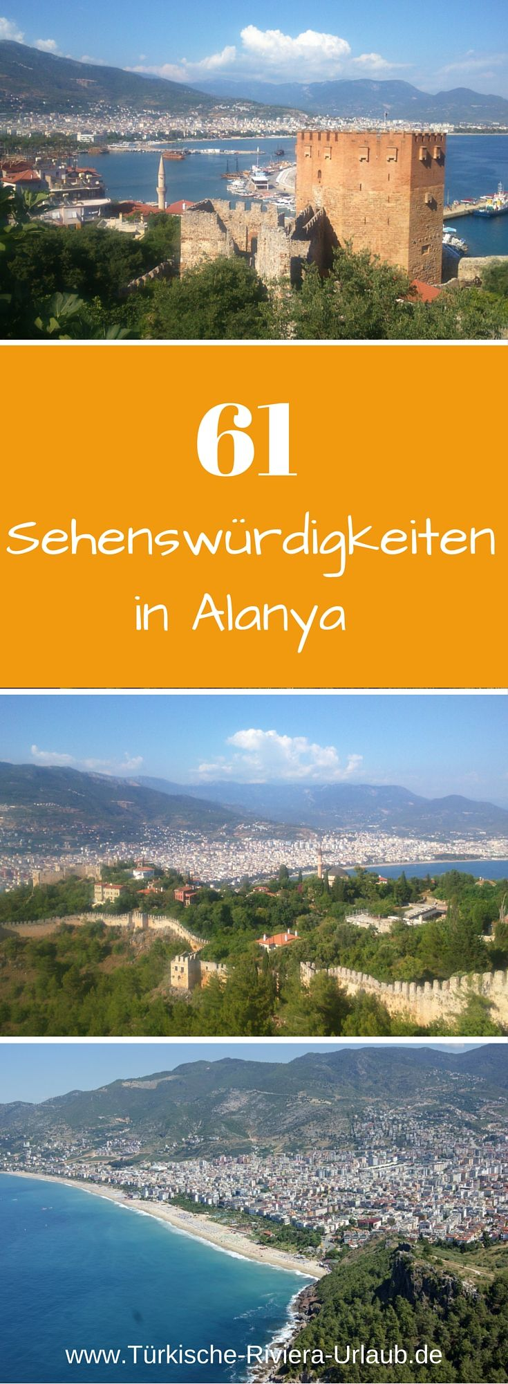 61 Sehenswürdigkeiten & Aktivitäten in der türkischen Touristenstadt Alanya. Damit wird dir während deiner Reise bestimmt nicht langweilige! Zur Liste gelangst du hier: http://www.tuerkische-riviera-urlaub.de/alanya-sehenswuerdigkeiten/