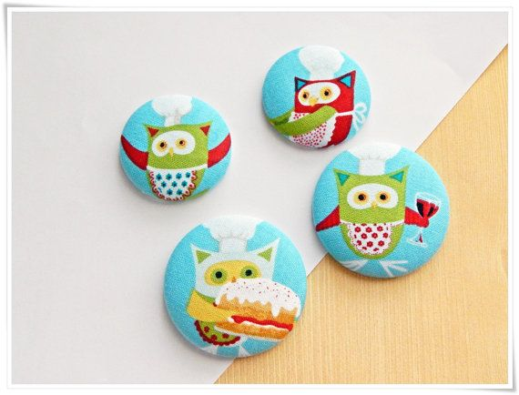 Set of 4 Large Chef Owl Fabric-covered Button Kitchen Magnets (Good Housewarming Gift) by ZzzonkOwl, $5.25