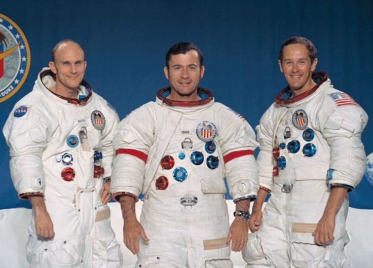 File:Apollo 16 crew.jpg  The prime of the Apollo 16 lunar landing mission. From left to right: Thomas K. Mattingly II, Command Module pilot; John W. Young, Commander; and Charles M. Duke Jr., Lunar Module pilot.