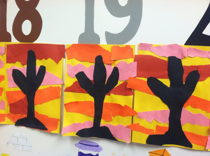 Ripping paper to create sunset with a cactus shadow! Fine motor practice for desert unit