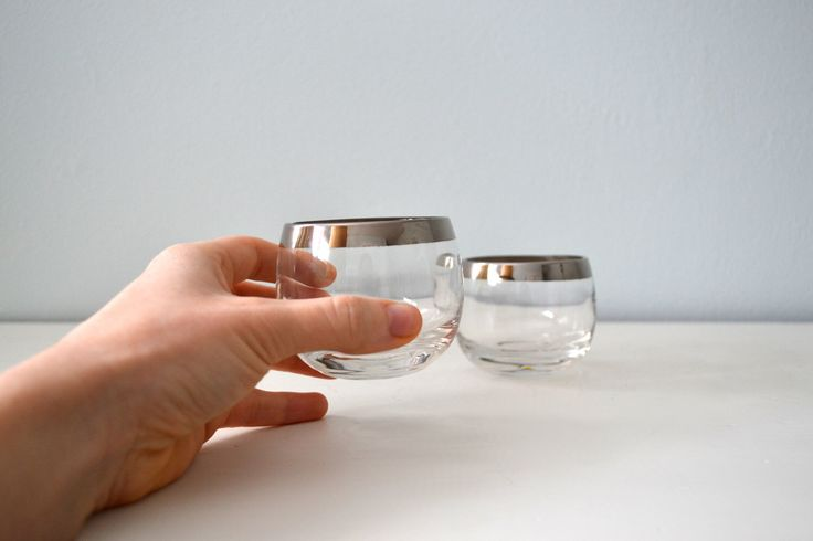 Vintage Mad Men Roly Poly Glasses, Small Silver Rim Drinking Glassware, Shot Glass, Midcentury Tumblers by saltandginger on Etsy https://www.etsy.com/listing/92995439/vintage-mad-men-roly-poly-glasses-small