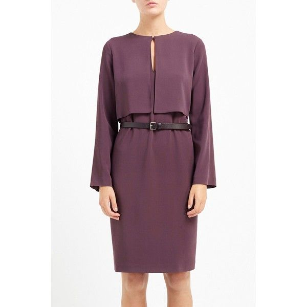Empire Belted Cady Dress Plum (€470) ❤ liked on Polyvore featuring dresses, slimming cocktail dresses, plum dress, purple evening dress, slit dress and holiday dresses