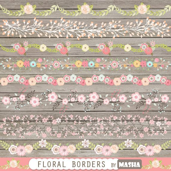 Floral border clipart: FLORAL BORDERS with flower by MashaStudio
