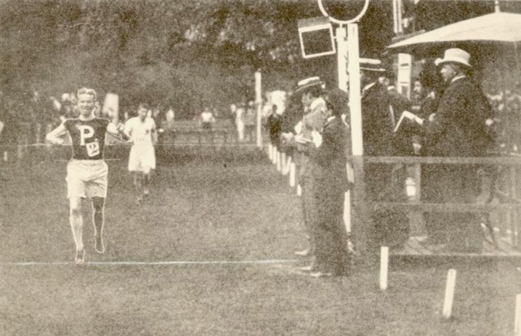 George Orton, a Canadian Ph.D student studying at the University of Pennsylvania, became Canada's first ever Olympic medalist in 1900.  He won both gold in the 2500m steeplechase (shown above) and bronze in the 400m hurdles in the same hour.