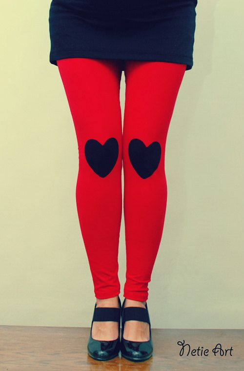 Black heart patched leggings tights in red by NetieArt on Etsy, $28.00