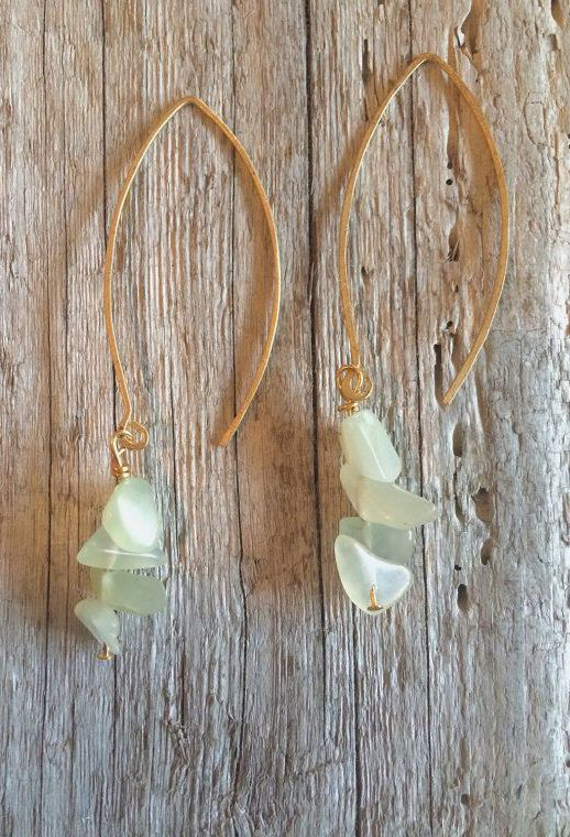 Tumbled Jade & Hammered Gold Earrings
