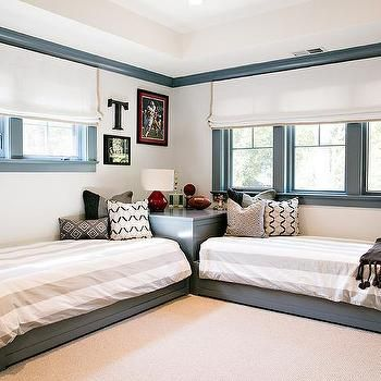 Kids Room with L Shaped Beds, Transitional, Boy's Room