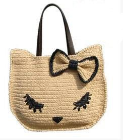 crocheted cat bagraffia bagsummer totecat kitty bag by BusyPaws