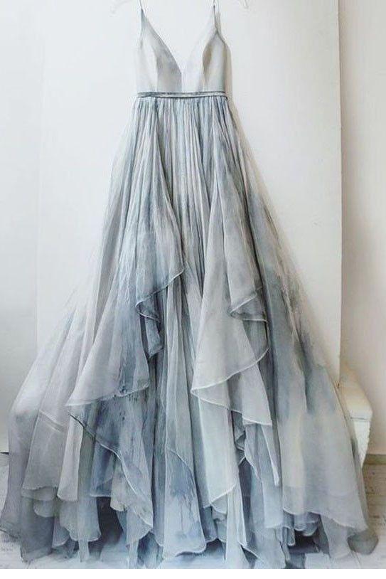 Spaghetti Straps V-neck Prom Dress,Long Backless Evening Dress,Senior Prom Dress,Formal Women Dresses,2017 Prom Dress N43
