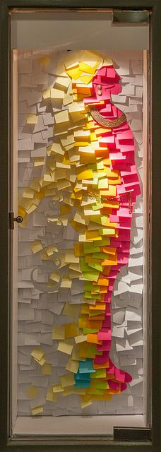 Silueta hecha con Post-it note