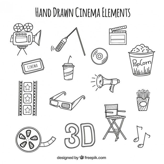 Sketches audiovisual accessories Free Vector