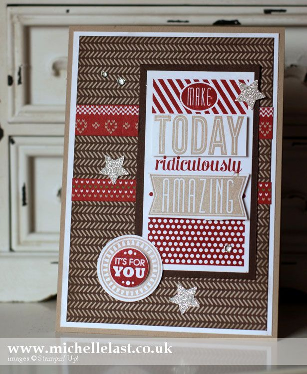 Whisper White, Crumb Cake & Early Espresso cs, Crumb Cake & Cherry Cobbler ink, Circle punches, Silver Glimmer paper, Trim the Tree dsp stack, rhinestones, star punch