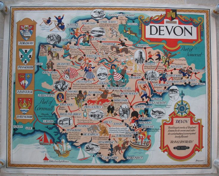 Devon (County Map), by Bowyer. A fabulous and fun pictorial map of Devon showing how the north and south coasts provide so many holiday destinations. The large number of vignettes, comments and small cartoon-like characters cover some history, many myths and legands as well as more general holiday pursuits. There are the crests of important towns, and the rail network which existed at the time. Original Vintage Railway Poster available on originalrailwayposters.co.uk