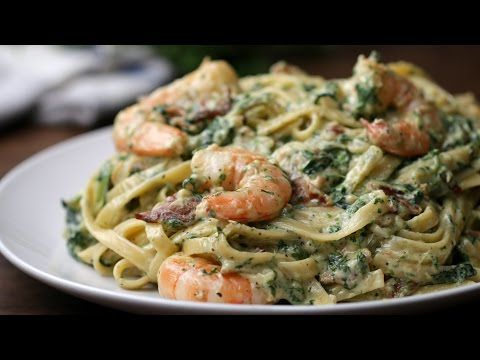 Shrimp Spinach Bacon Alfredo - https://www.youtube.com/watch?v=uHf7cDhh-r0
