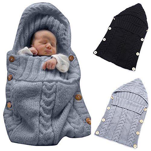 Colorful Newborn Baby Wrap Swaddle Blanket, Oenbopo Baby Kids Toddler Wool Knit Blanket Swaddle Sleeping Bag Sleep Sack Stroller Wrap for 0-12 Month Baby (Grey) - $19.99