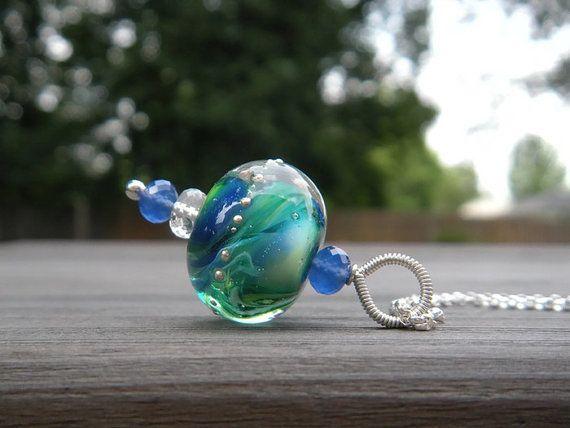 Green Earth Glass Pendant // Artisan Glass by CloverBlueToo