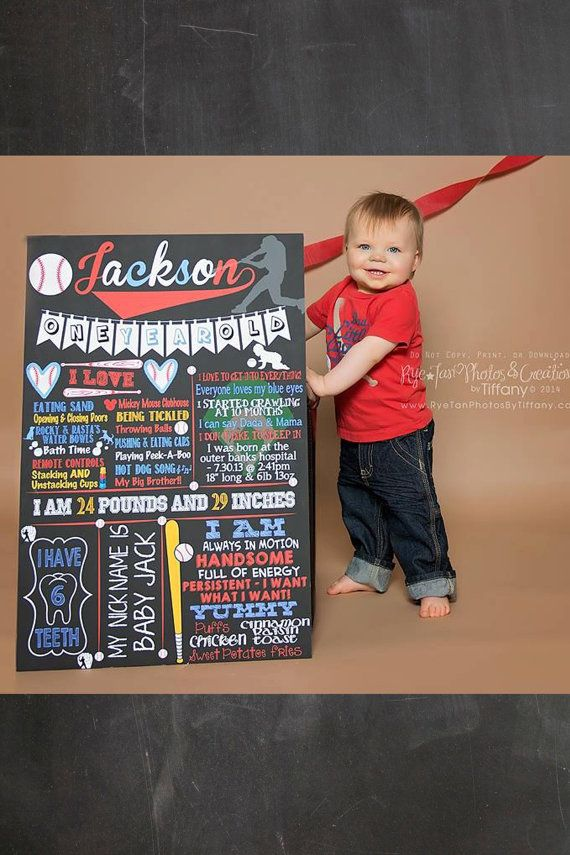 1st birthday baseball chalkboard  custom by CustomPrintablesNY, $27.00