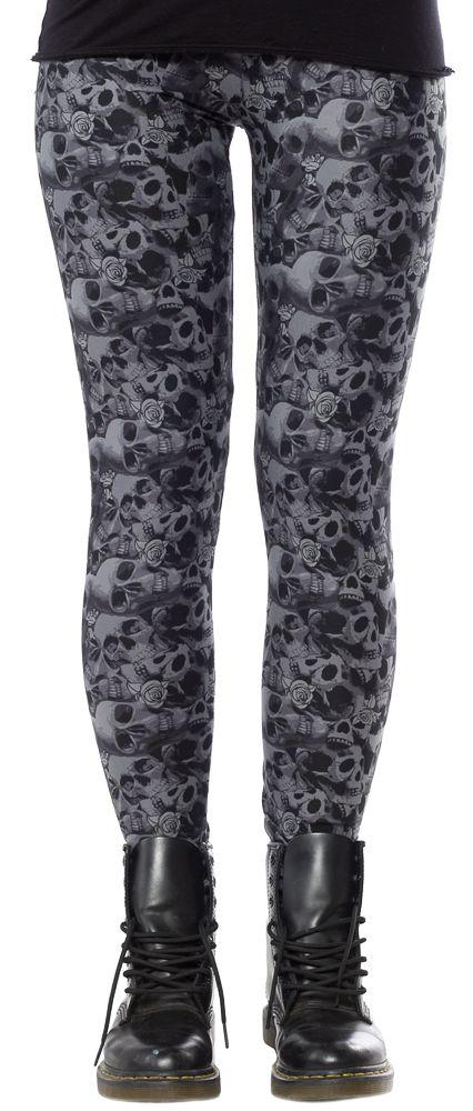 QUEEN OF DARKNESS GRAY SKULL LEGGINGS $28.00 #queenofdarkness #goth #leggings #skulls