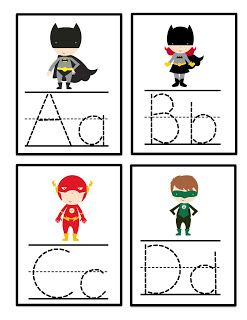 Preschool Printables: Super Hero Alphabet Tracing Cards
