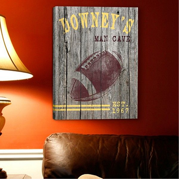 Personalized Man Cave Canvas Sports Prints are the perfect addition to your guys den, home bar, garage or basement. Personalize the print with his name and choose from 5 vintage sports themed designs.