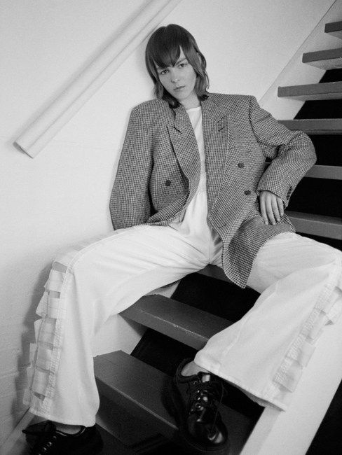 Jacket by Givenchy (vintage), top by Acne, trousers by Christopher Raeburn, shoes by Rellik