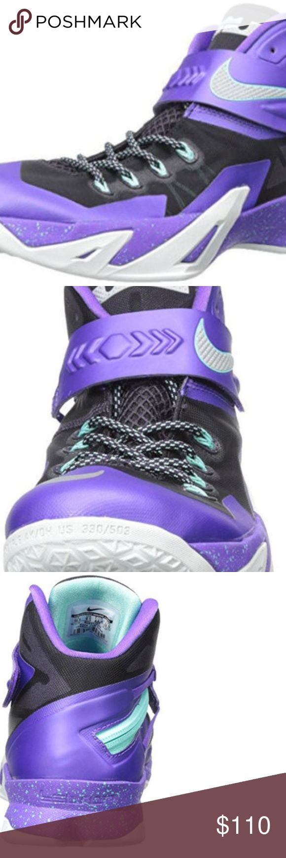 """Nike Mens Zoom Soldier VIII Prm Basketball Shoes Nike Mens Zoom Soldier VIII Prm Basketball Shoes Sneakers   Size: 12 Brand New In Box Synthetic Rubber sole Shaft measures approximately 4"""" from arch Made in China Color: Purple / Silver Nike Model: 653641070 Nike Shoes Sneakers"""