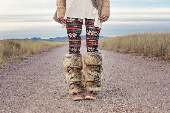 "Faux Fur Boot Covers Leg Warmers - Fuzzy Boots - 16"" - Faux Fox Fur - Lambskin Lined"