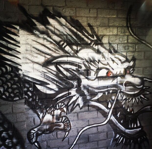 Dragon painting done with aerosol paint