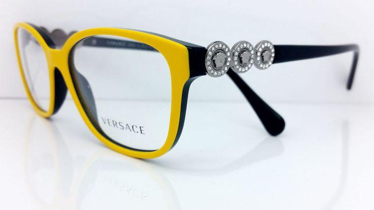 New Versace Eyeglasses Mod 3181-B 976 Yellow/Black  Made in Italy 53MM #VERSACE