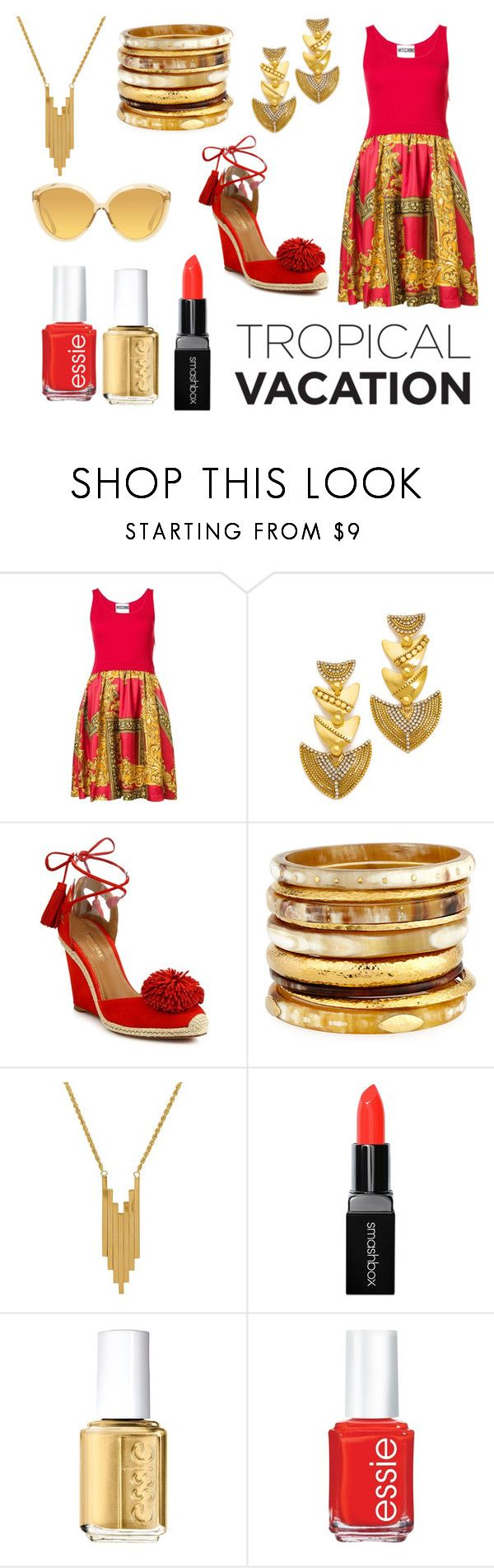 """Sin título #333"" by candy-nohemi-velazco-mendiola ❤ liked on Polyvore featuring Moschino, Erickson Beamon, Aquazzura, Ashley Pittman, Lord & Taylor, Smashbox, Essie and Linda Farrow"