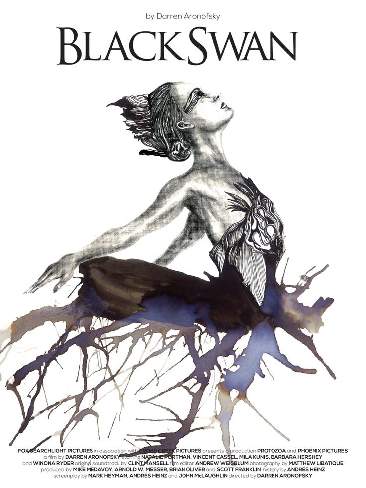 Black Swan poster by Rodrigo Moisés. love the imagery and watercolour!