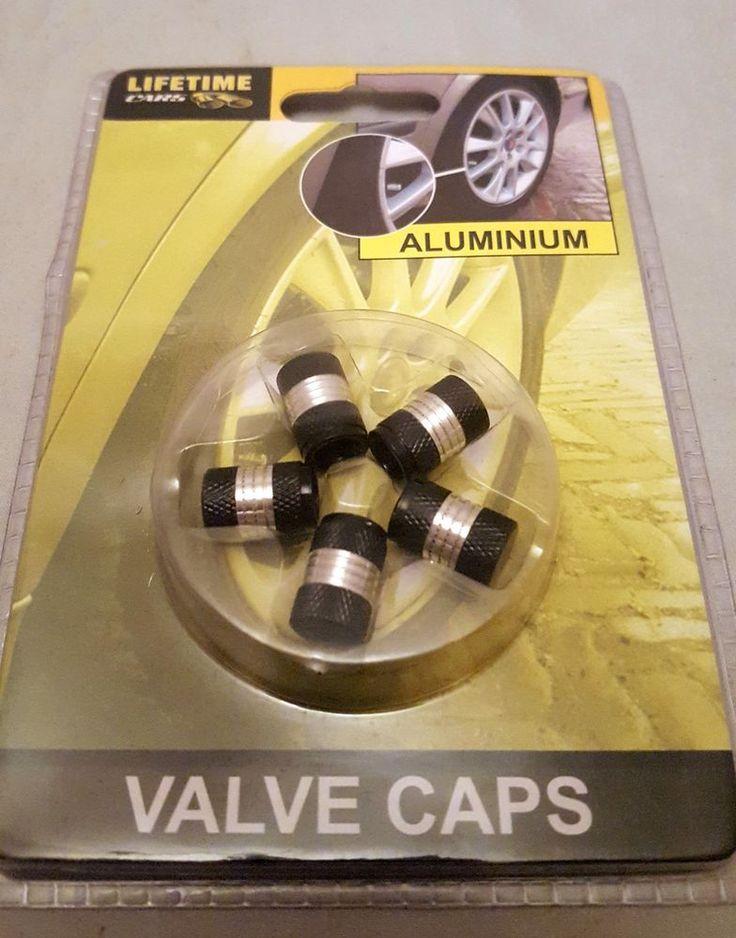 ALL RIDE 5pcs Black & Silver Aluminium Car Van Tyre WHEEL Valve Cap Accessories #ALLRIDE