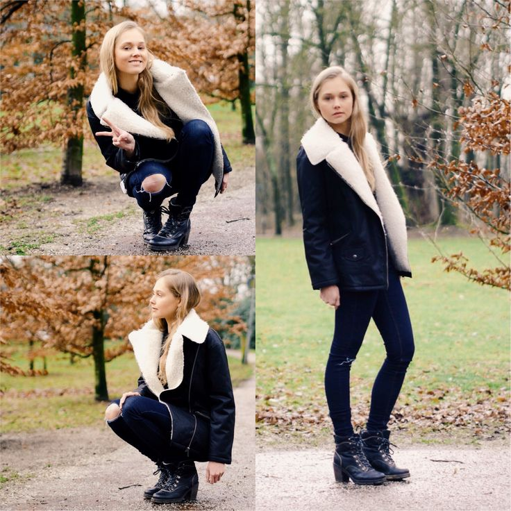 Shop this look on Lookastic:  http://lookastic.com/women/looks/black-and-white-shearling-jacket-navy-ripped-skinny-jeans-black-leather-lace-up-ankle-boots/8302  — Black and White Shearling Jacket  — Navy Ripped Skinny Jeans  — Black Leather Lace-up Ankle Boots