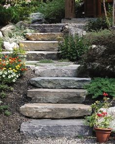 Stone slabs make interesting steps for a log home garden. Landscaping Ideas on Pinterest | Outdoor Walkway, Low Maintenance ...