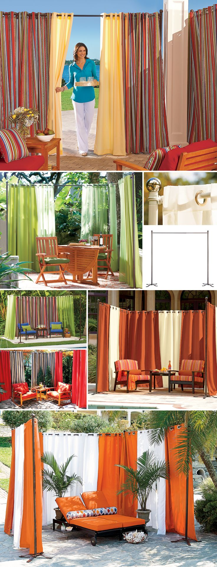 Create privacy just about anywhere with a freestanding curtain rod and outdoor curtains.Patios Curtains, Curtains Rods, Curtain Rods, Outdoor Curtains, Freestanding Curtains