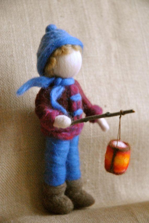 Waldorf inspired needle felted Children The Lantern от MagicWool