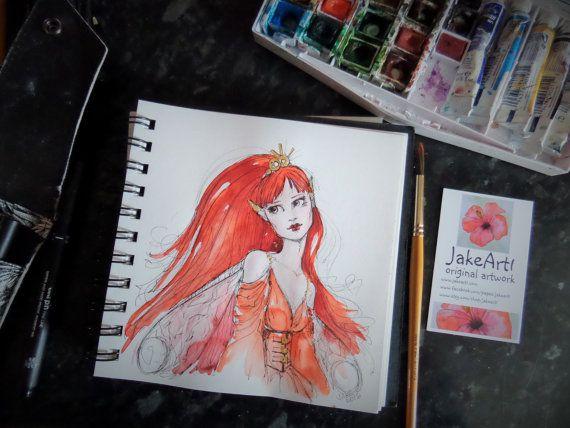Fantasy fairy original artwork Red Fairy Ruby Fairy Fantasy