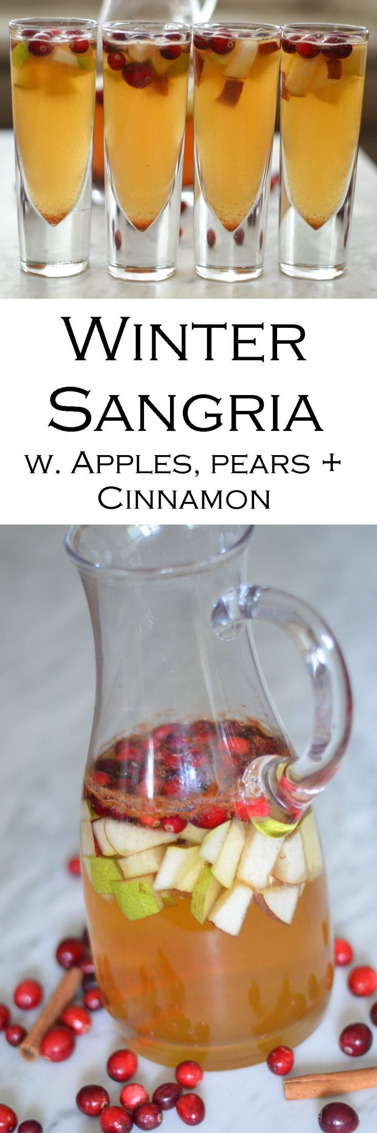 Winter Sangria w. Apples, Pear + Cinnamon