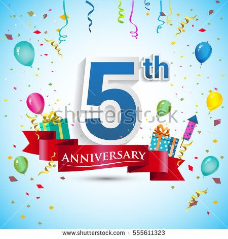 5th Anniversary Celebration Design, with gift box and balloons, Red ribbon, Colorful Vector template elements for your, five years birthday celebration party.