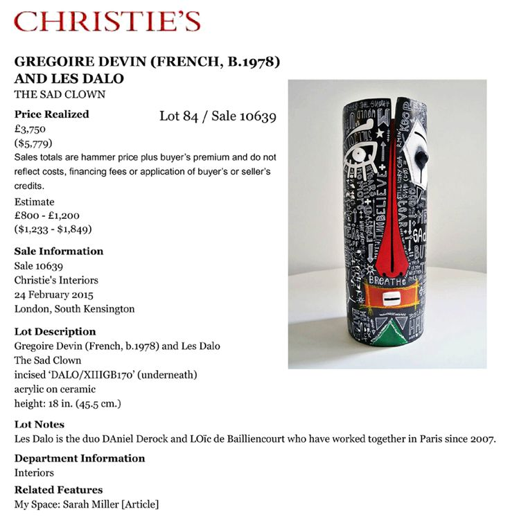 """Great performance at CHRISTIE'S London for the sculpture """"The Sad Clown"""" for auction sale last february 24th."""
