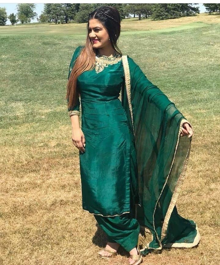 Dark Green Salwar Suit Chakwe Suits And Dresses In 2019 Punjabi