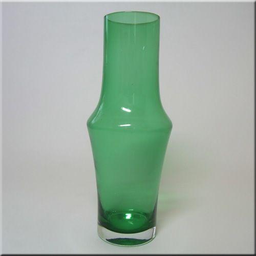 Riihimäen Lasi Oy / Riihimaki green glass vase, design number 1376, 250mm tall.