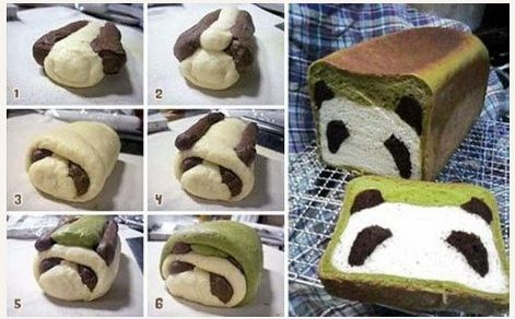 So cute! They used cocoa and gree tea powder to color sections of white bread dough. Assembled as shown. Baked in a loaf pan- and voila! Kids would love this.