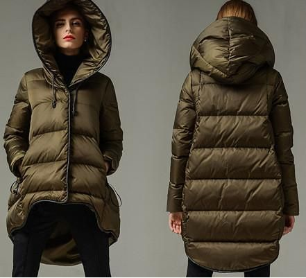 Flared Hooded Short Down Coat in Army Green